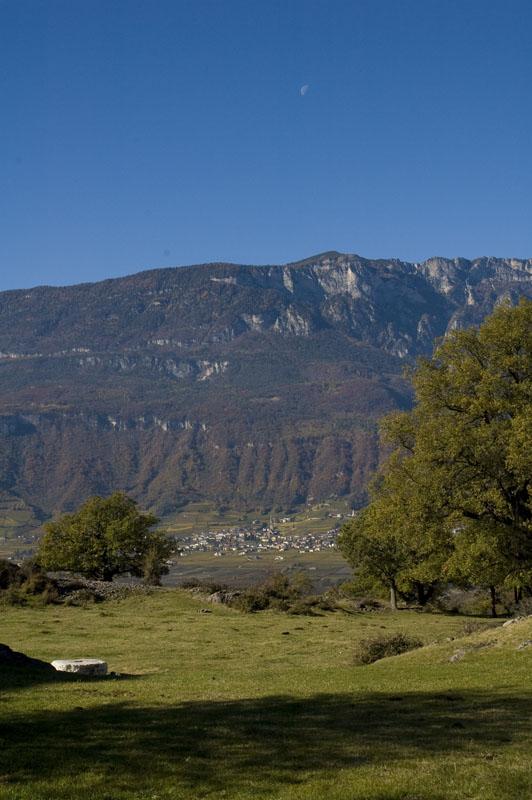 Tramin im Südtiroler Unterland vom Biotop Castelfeder aus gesehen