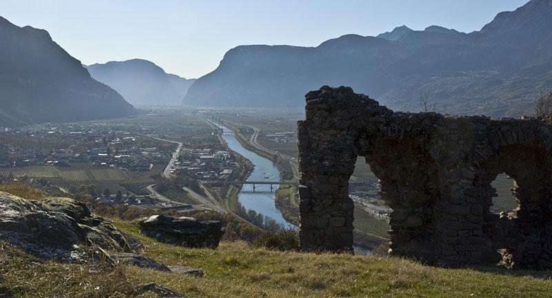 Blick über das Unterland von Südtirol Süden
