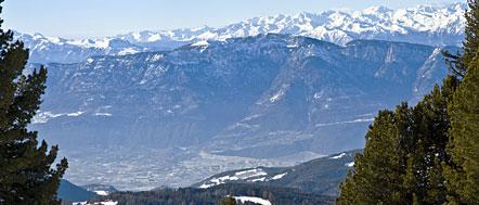 Tramin mit dem Mendelgebirge und dahinter die mächtigen Bergspitzen der Brenta-Gruppe und vom Val di Sole
