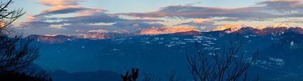 Schlern, Rosengarten und Weißhorn bei Sonnenuntergang