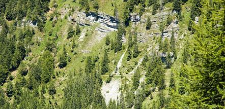 """Der """"Sentiere dell'Orso"""" (Bärensteig) aus der Ferne"""