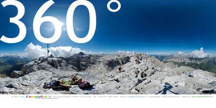 Gipfel Piz Piscidù mit Blick auf Piz Boè, Tschierspitzen und Sassongher