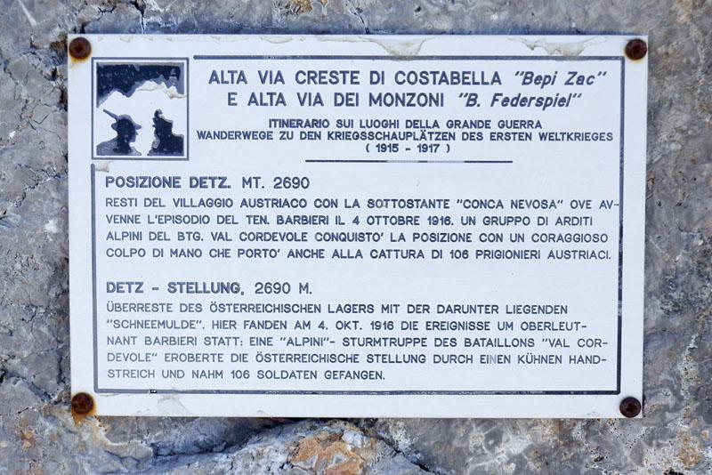 Hinweisschlid auf dem Alta via Bepi Zac