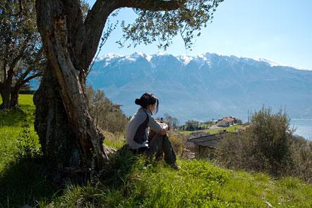 Über Pregasio, einem kleinen idyllischen Dorf am Gardasee.