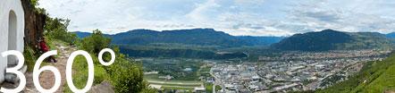 360° Blick auf Bozen. Auf dem Steig Nr. 3 zwischen Kohlern und Seit.