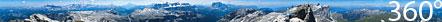 360 Zylinderpanorama: Bergwelt der Dolomiten (inkl. Beschriftung Spitzen)