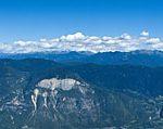 Blick auf das Unterland und die Südtiroler Dolomiten