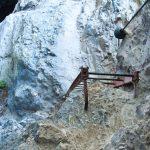 Am oberen Ender der Leiter im Burrone Klettersteig