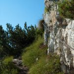 Entlang der Stahlseile auf dem Klettersteig G. Falcipieri