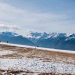 Rodler vor den Brenta Dolomiten