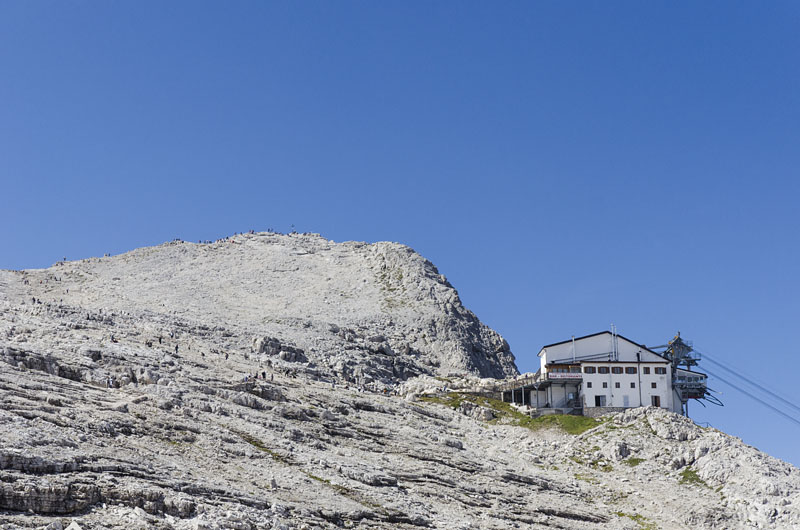 Rosetta Seilbahn hoch über San Martino di Castrozza in den Pale di San Martino