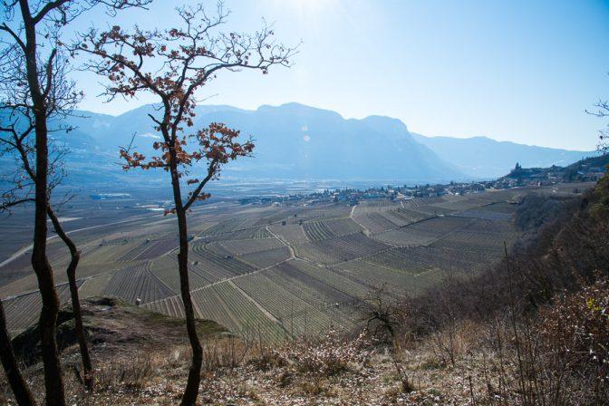 Blick ins Südtiroler Unterland nach Tramin; im Vordergrund der große Porphyrstein.