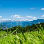 Blick von Gaid zum Schlern und Rosengarten
