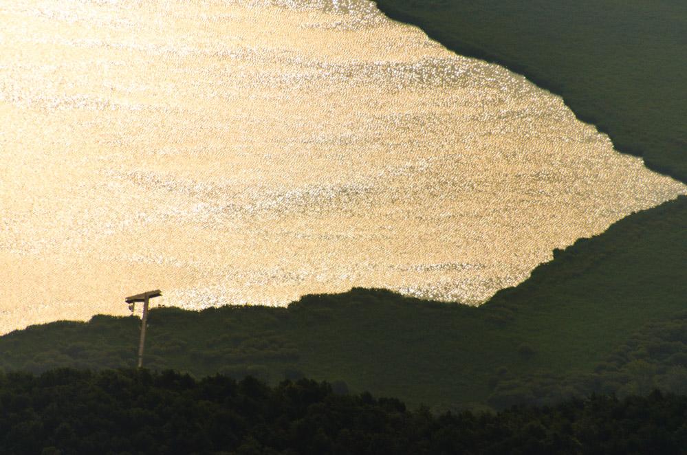 Blick auf den goldenen Kalterer See am frühen Morgen