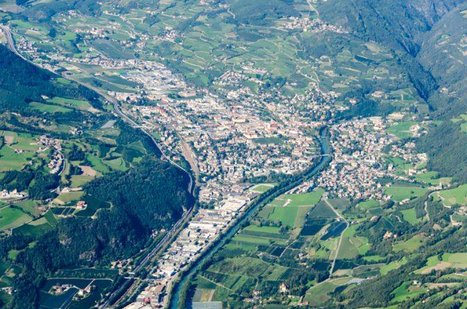 Die Bischofsstadt Brixen aus der Vogelperspektive