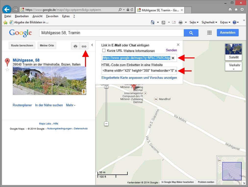 Google Maps in eigener Website verlinken oder einbetten