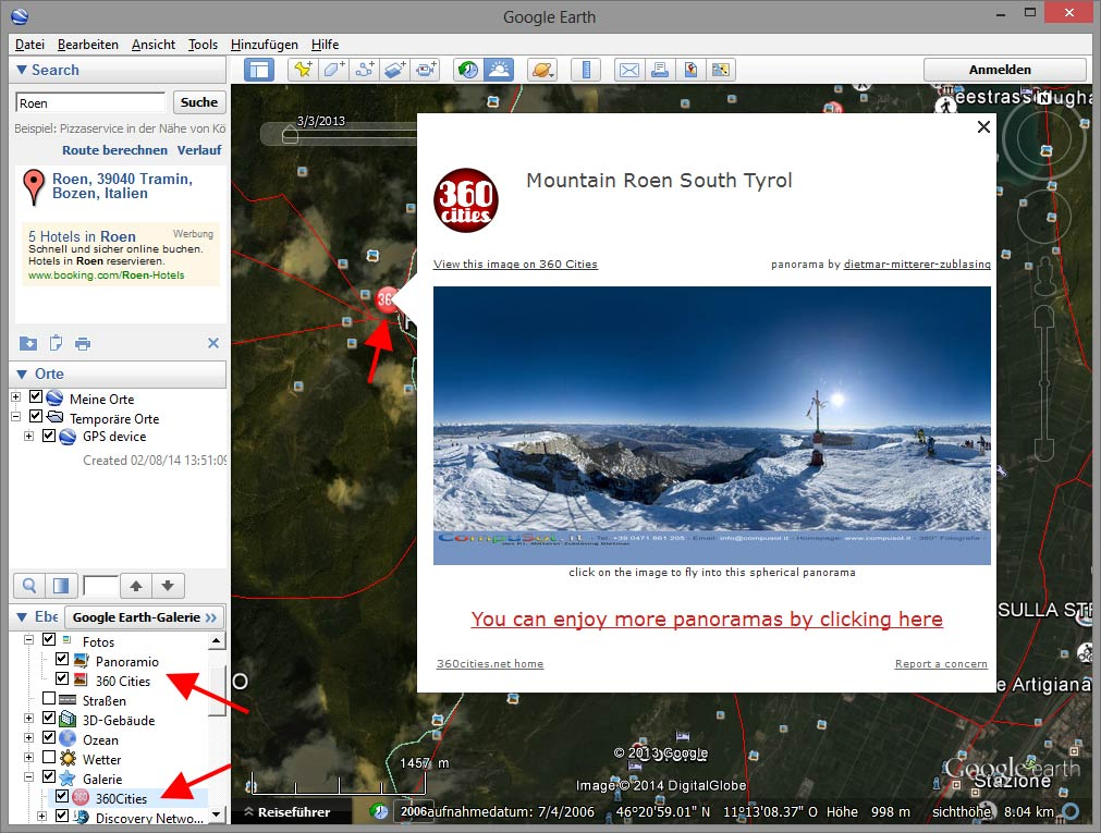 Ebenen in Google Earth