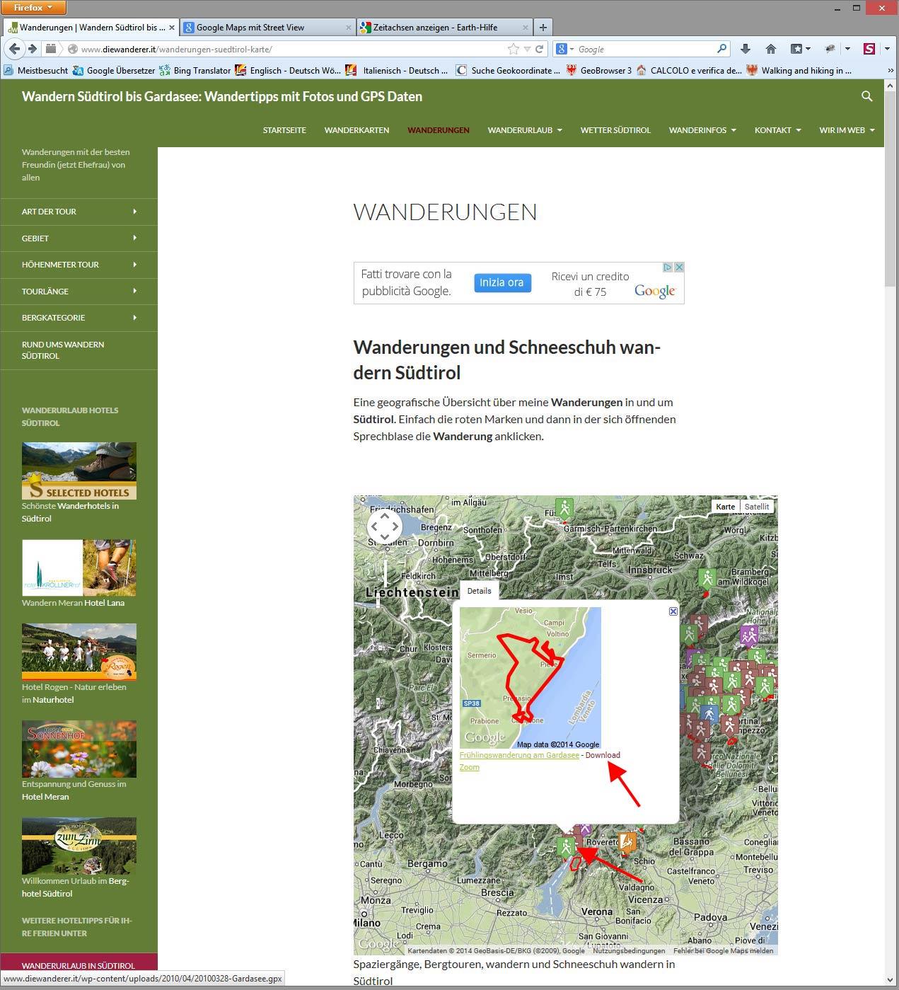 Wandertipps mit GPS Daten auf diewanderer.it