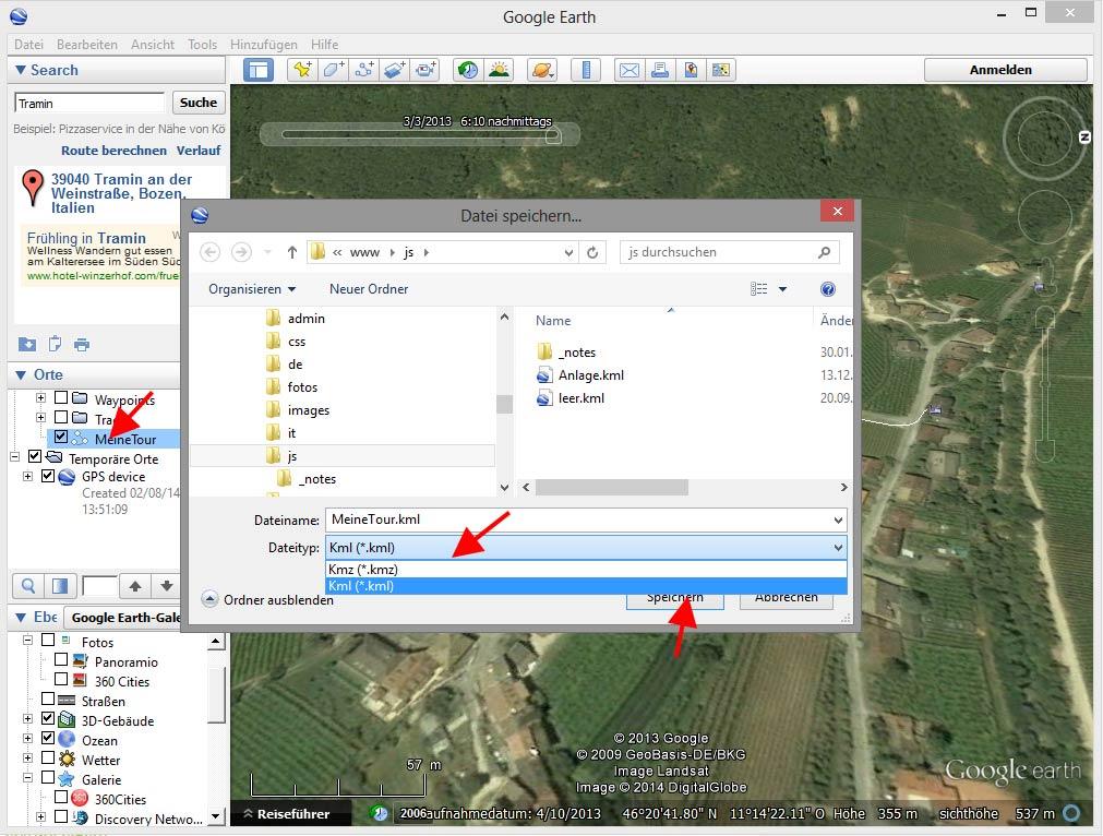 Google Earth KML-Datei abspeichern