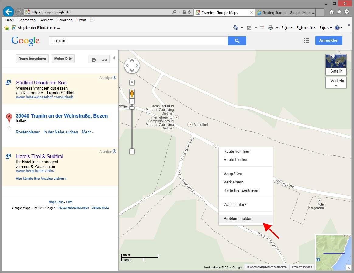 Problem mit Google Maps Karte melden