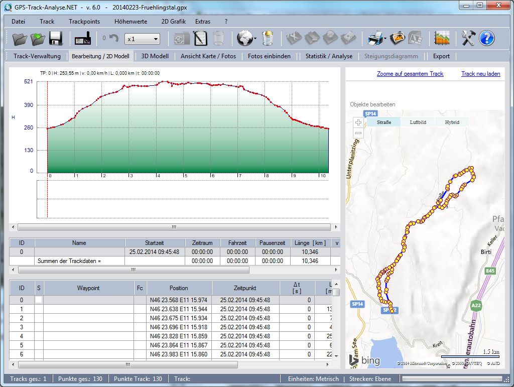 GPS-Track-Analyse.NET - Bearbeitung / 2D Modell