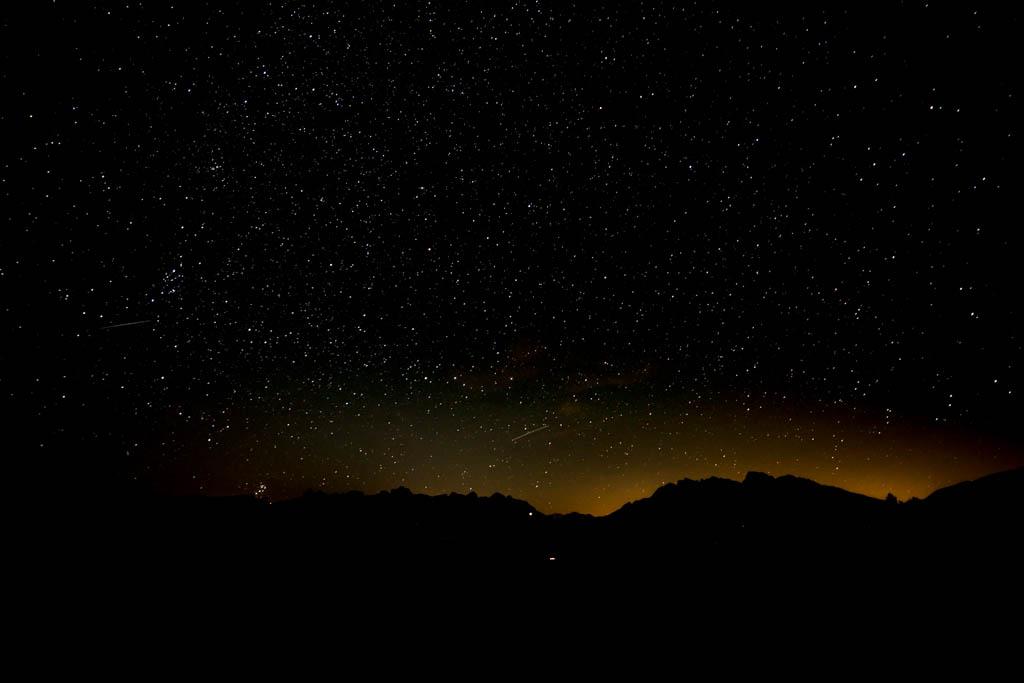 Nachtaufnahme Rosengartengruppe und Latemar