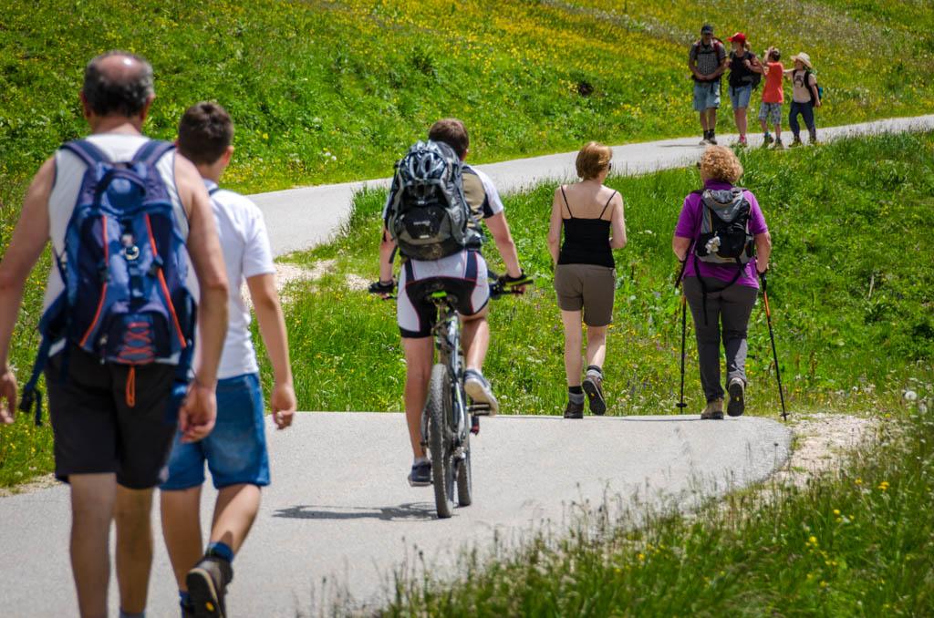 Mountainbiker, Wanderer