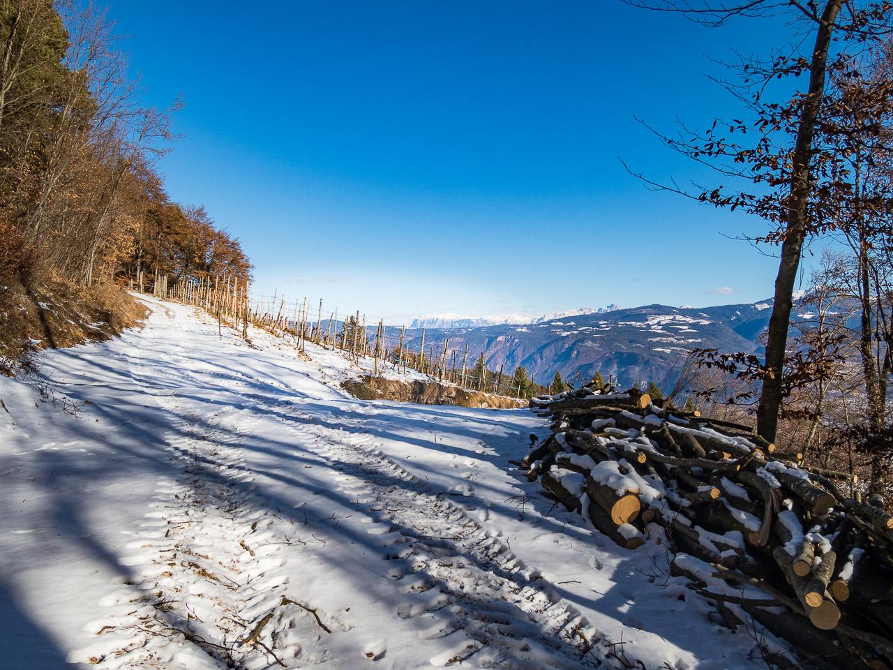 Graun im Winter - Blick zum Schlern