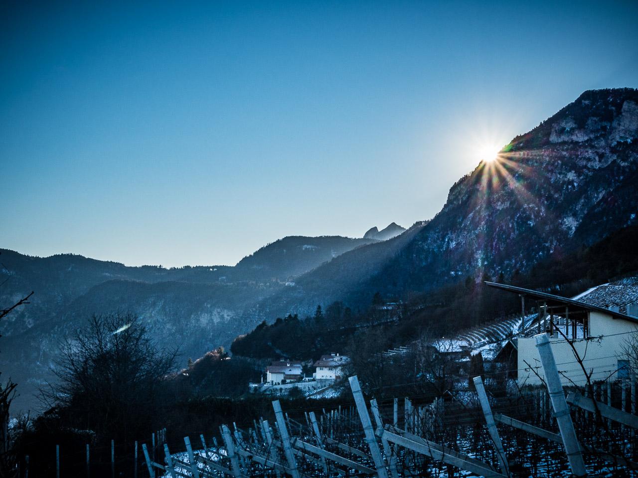 Sonnenuntergang in Graun oberhalb von Kurtatsch