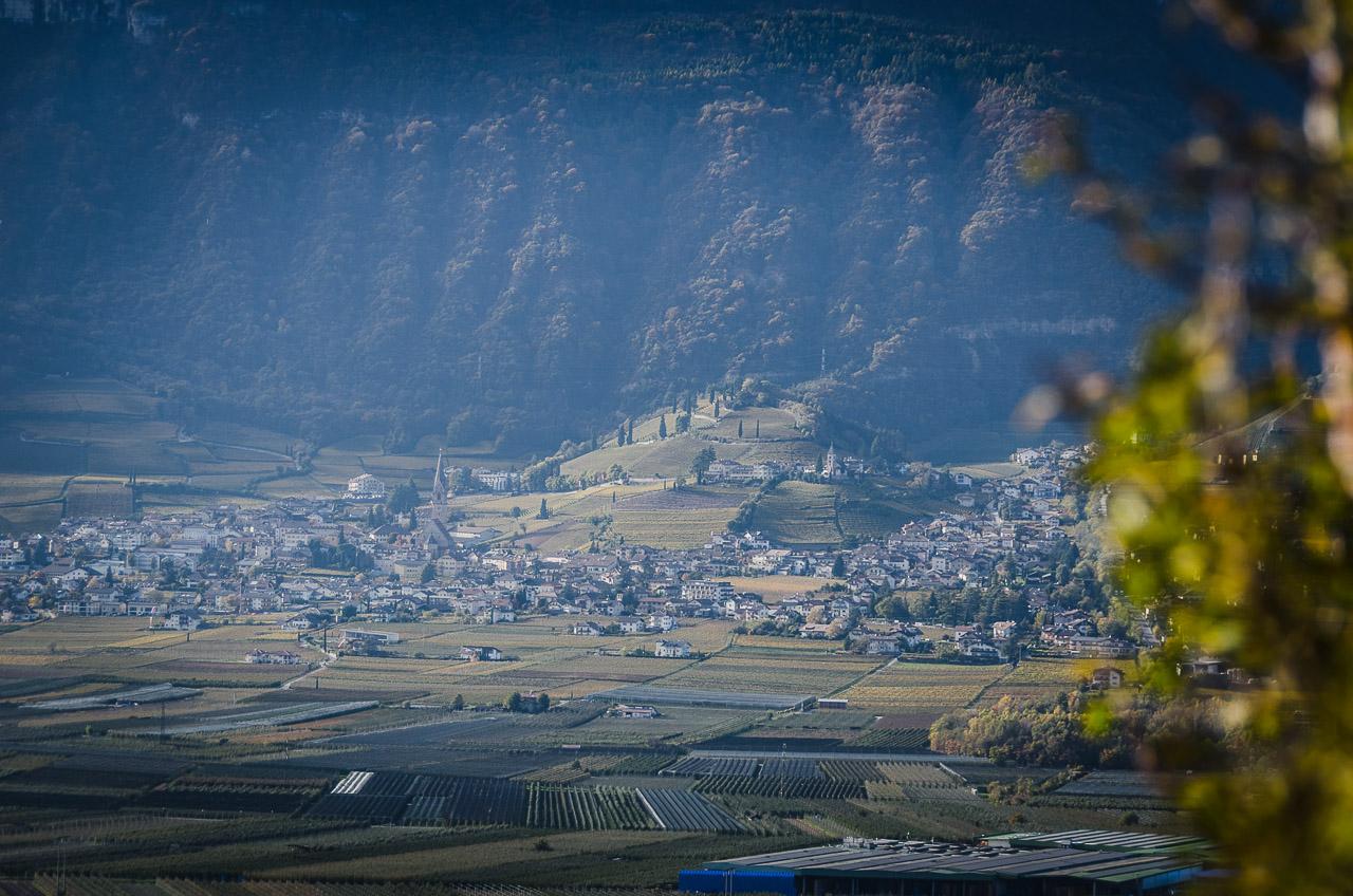 Blick von Castelfeder nach Tramin